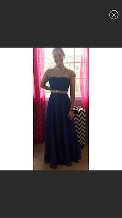 Sherri Hill Blue Size 0 Prom Sequin A-line Dress on Queenly