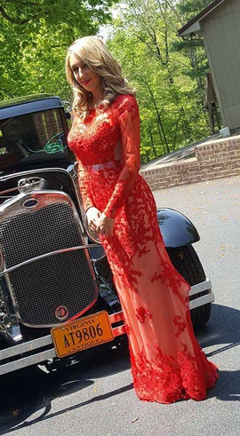 Mac Duggal Red Size 4 Prom Train Sleeves Mermaid Dress on Queenly