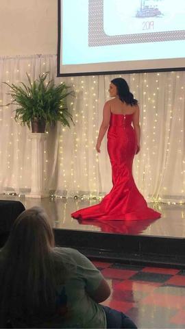 Sherri Hill Red Size 10 Silk Train Side slit Dress on Queenly