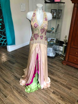 Jovani Yellow Size 6 Silk Side slit Dress on Queenly