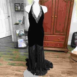 Jovani Black Size 4 Halter Plunge Sequin Mermaid Dress on Queenly