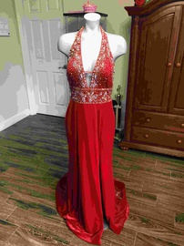 Queenly size 10  Red Side slit evening gown/formal dress