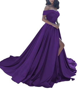 Homdor Purple Size 4 Silk Side Slit Ball gown on Queenly