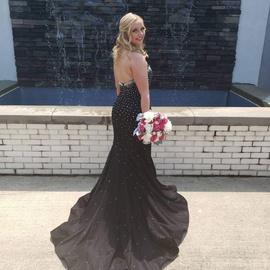 Jovani Black Size 6 Sequin Train Mermaid Dress on Queenly