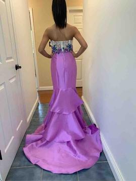 Ellie Wilde Pink Size 0 Train Floral Mermaid Dress on Queenly