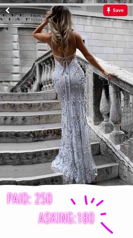 Silver Size 0 Train Dress on Queenly