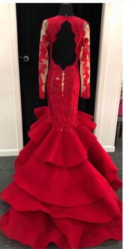 Sherri Hill Red Size 8 Sleeves Mermaid Dress on Queenly