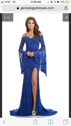 Johnathan Kayne Blue Size 4 Sleeves Mermaid Dress on Queenly