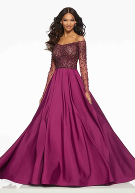 Mori Lee Purple Size 2 Long Sleeve A-line Dress on Queenly