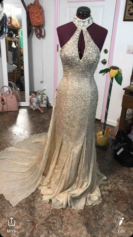 Johnathan Kayne Gold Size 8 Mermaid Dress on Queenly