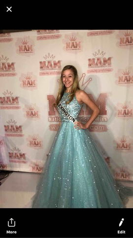 Sherri Hill Blue Size 0 Red Ball gown on Queenly