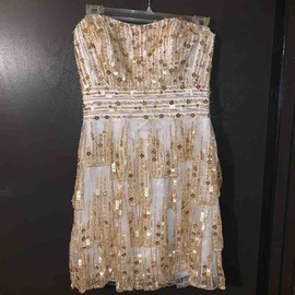 Sherri Hill Gold Size 6 Homecoming Strapless Mini Cocktail Dress on Queenly