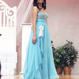 Sherri Hill Blue Size 6 High Low Beaded A-line Dress on Queenly