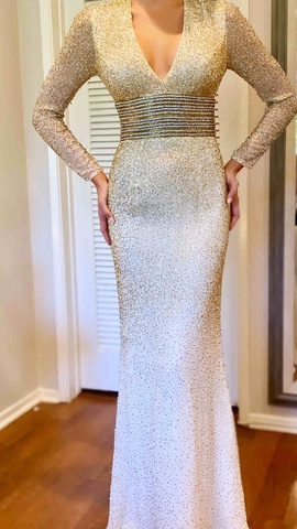 Jovani White Size 0 Sleeves Straight Dress on Queenly