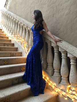 Queenly size 0 Angela & Alison Blue Train evening gown/formal dress