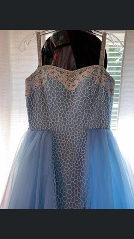 Sherri Hill Blue Size 4 Train Straight Dress on Queenly