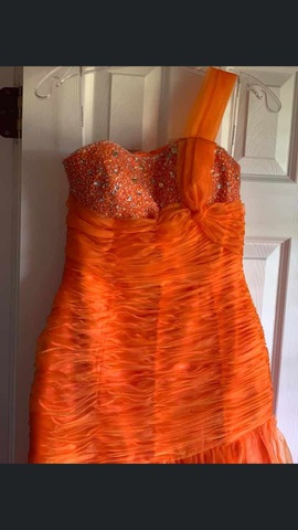 Alyce Paris Orange Size 8 Sweetheart One Shoulder Mermaid Dress on Queenly
