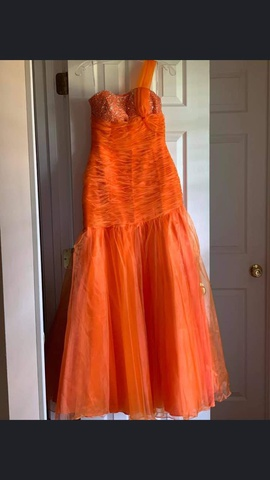 Queenly size 8  Orange Mermaid evening gown/formal dress