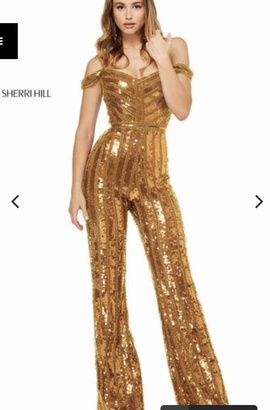 Queenly size 8 Sherri Hill Gold Romper/Jumpsuit evening gown/formal dress