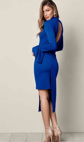Venus Blue Size 10 Sleeves Straight Dress on Queenly