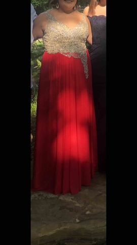 Queenly size 20  Red Side slit evening gown/formal dress