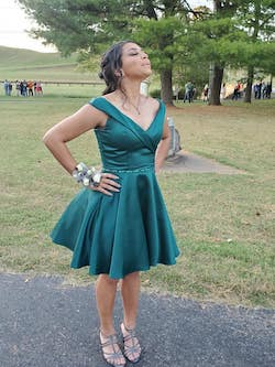 Tiffany Designs Green Size 8 Ball gown on Queenly