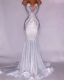 Custom Silver Size 12 Train Dress on Queenly