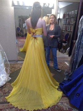 Jovani Yellow Size 0 Belt Side slit Dress on Queenly
