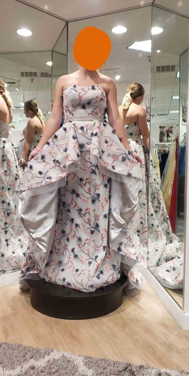 Johnathan Kayne Silver Size 8 Belt Floral Train Dress on Queenly