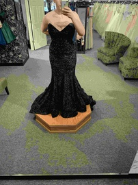 Tarik Ediz Black Size 16 Strapless Prom Train Mermaid Dress on Queenly