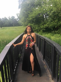 Queenly size 2  Black Side slit evening gown/formal dress
