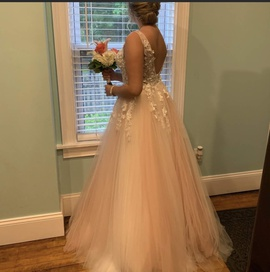 Jovani Pink Size 8 Sheer A-line Chiffon Ball gown on Queenly