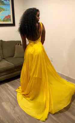 Sherri Hill Yellow Size 6 Plunge Train Dress on Queenly