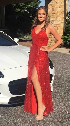 Ellie Wilde Red Size 6 Sequin Side Slit A-line Dress on Queenly