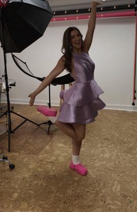 Queenly size 4 Ellie Wilde Purple Cocktail evening gown/formal dress
