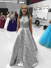Queenly size 2 Mac Duggal Silver Ball gown evening gown/formal dress