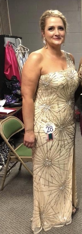 Queenly size 14 Mac Duggal Gold Train evening gown/formal dress