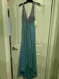 Queenly size 14  Blue Side slit evening gown/formal dress