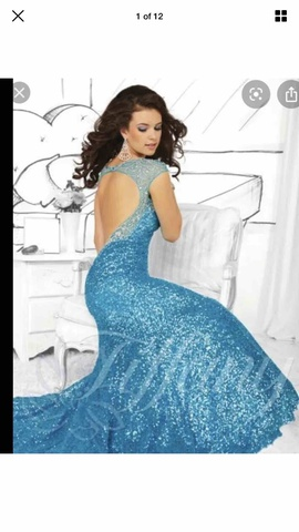 Tiffany Designs Blue Size 8 Mermaid Dress on Queenly