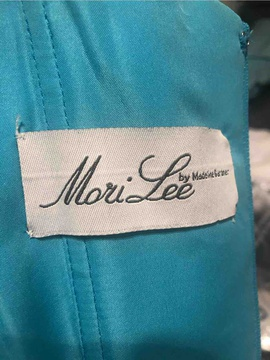 Mori Lee Blue Size 10 Sequin A-line Dress on Queenly