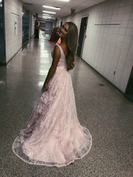 Sherri Hill Pink Size 2 Sheer Train Floral Ball gown on Queenly
