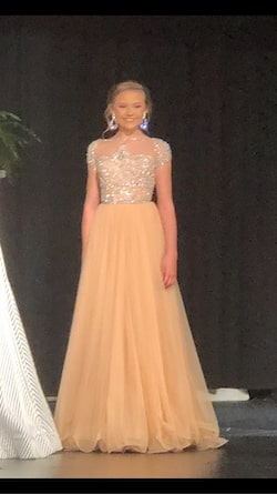 Sherri Hill Nude Size 00 Sleeves Pageant Sheer Ball gown on Queenly