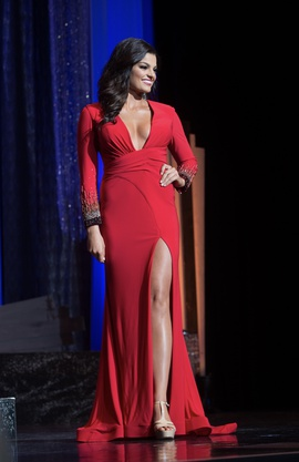 Rachel Allan Red Size 2 Plunge Sleeves Side Slit Straight Dress on Queenly