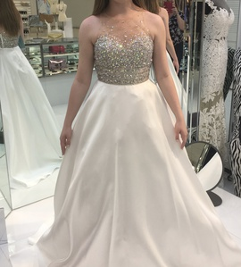 Jovani White Size 2 Jewelled Sequin Pockets Ball gown on Queenly