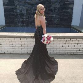 Jovani Black Size 6 Train Sequin Mermaid Dress on Queenly