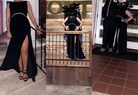 Black Size 14 Side slit Dress on Queenly