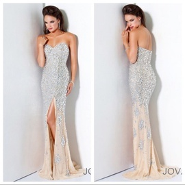 Queenly size 0 Jovani Gold Side slit evening gown/formal dress