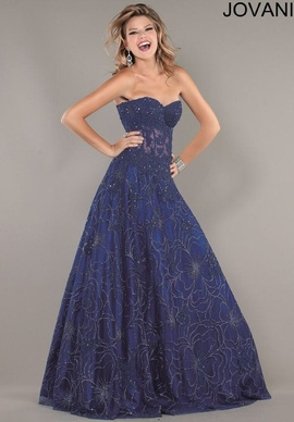 Jovani Blue Size 4 Sequin A-line Dress on Queenly