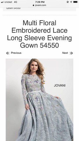 Jovani Blue Size 2 Prom Floral Sleeves Ball gown on Queenly