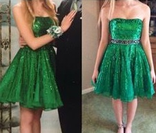 Sherri Hill Green Size 0 Homecoming Cocktail Dress on Queenly